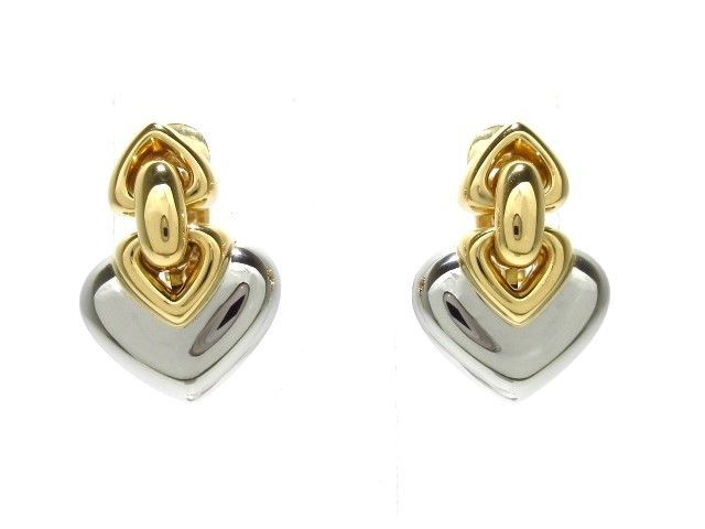 08243f7c3 Auth BVLGARI Doppio Cuore 18K Yellow Gold Stainless Steel Clip On Earrings  (eBay Link)