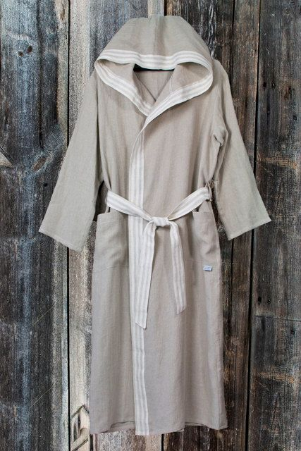 BATHROBE off white or natural gray linen hooded by LinumStudio b16079ef7