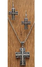 Montana Silversmiths Silver Cross Scroll Engrave Jewelry Set