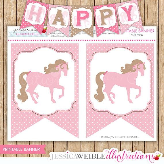 Pink+Pony+Theme++Printable+Flag+Banner+Pink+by+JWIllustrations,+$5.00