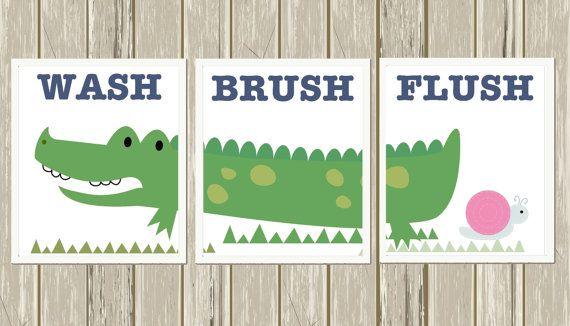 Alligator Bathroom Art, Brush Wash Flush, Kids Bathroom Art, Crocodile  Bathroom, Children Wall Art, Alligator, Set Of 3
