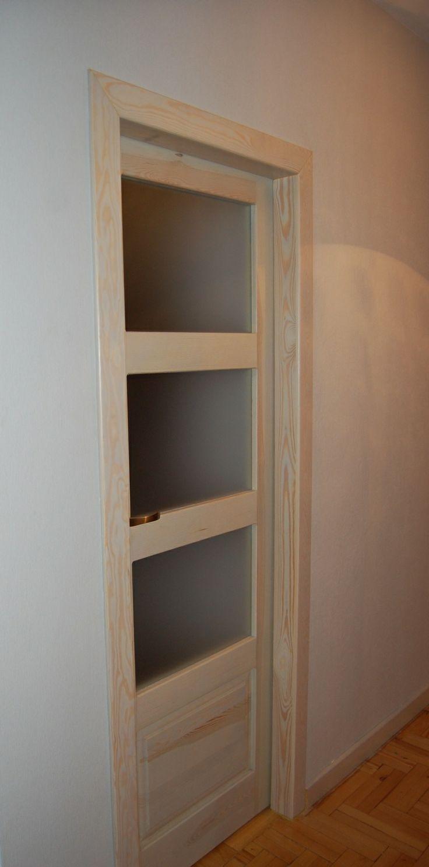 Wooden interior doors. Satin, milk glass. Strips …- Wooden …