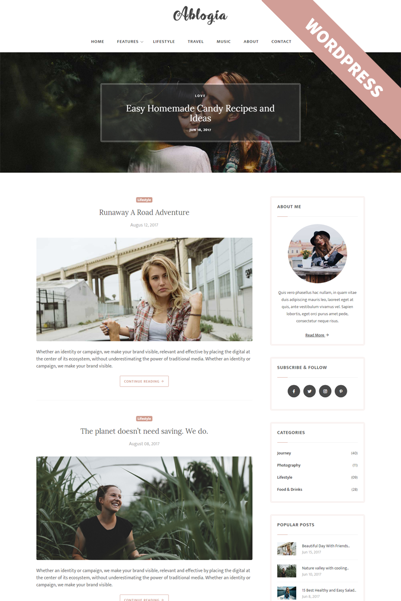Ablogia - Personal Blog WordPress Theme Big Screenshot | WordPress ...