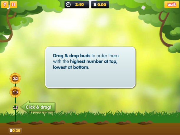 Order fractions & decimals in this fun, flower power game!