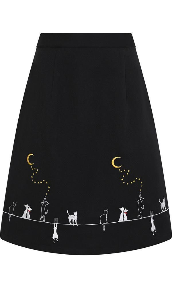 Banned Apparel black bat embroidered skirt halloween gothic