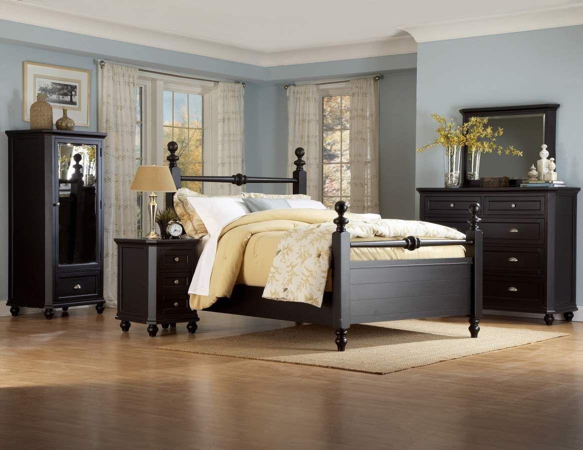 hanna black wood metal glass master bedroom set  cottage