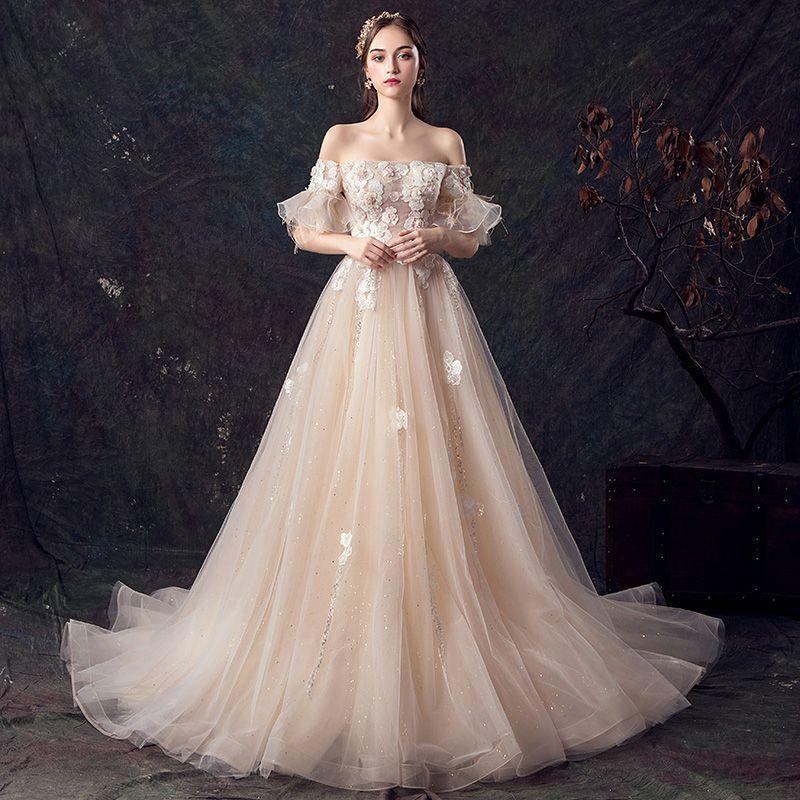 Elegant Champagne Wedding Dresses 2019 ALine / Princess