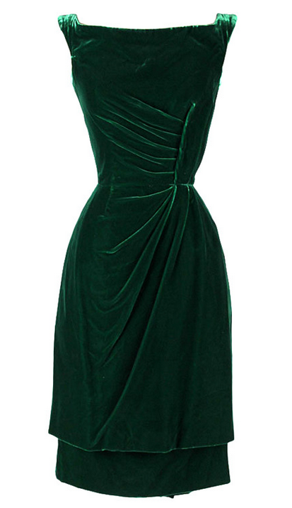 Green Velvet Dress Ceil Chapman 1950s Mill Street Vintage