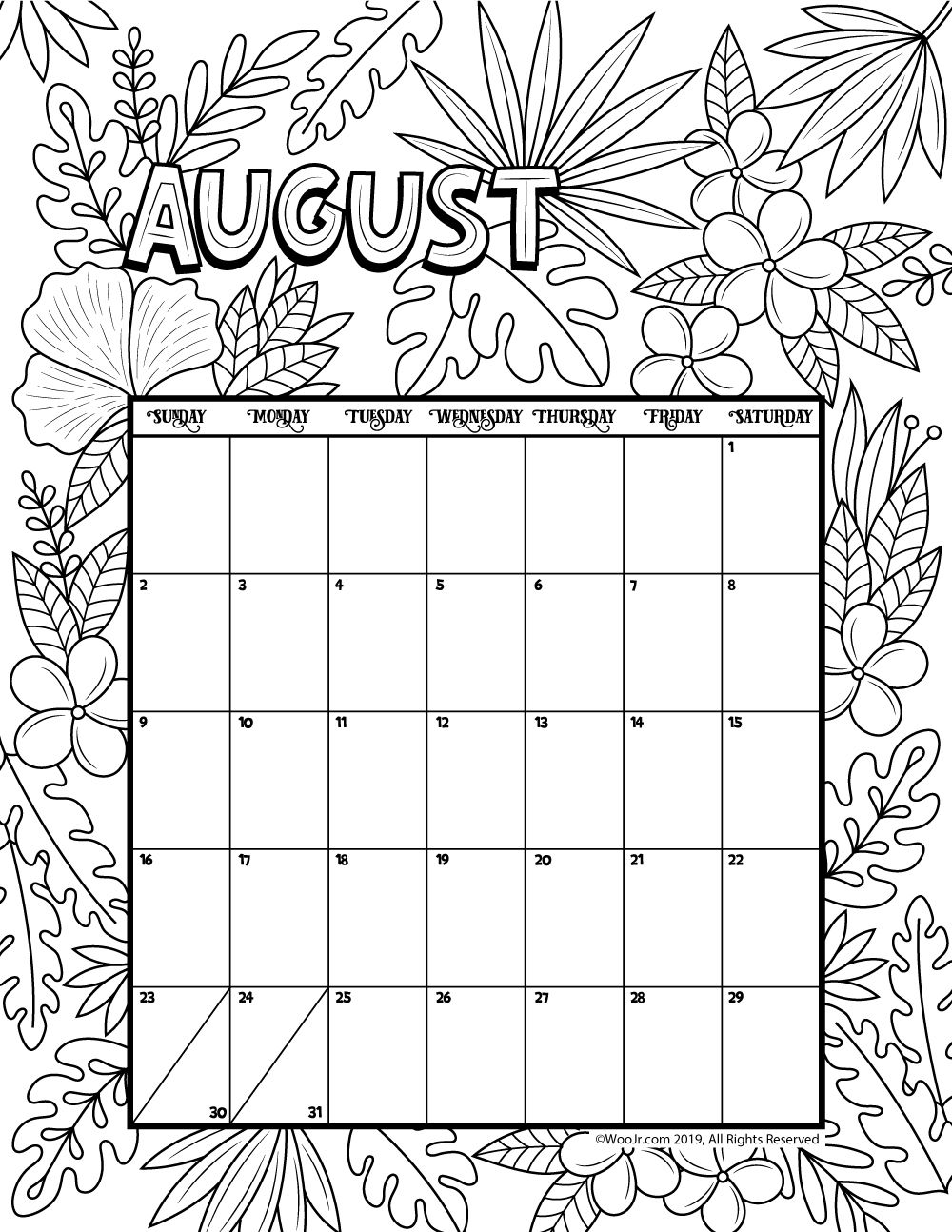 August 2020 Coloring Calendar Woo! Jr. Kids Activities