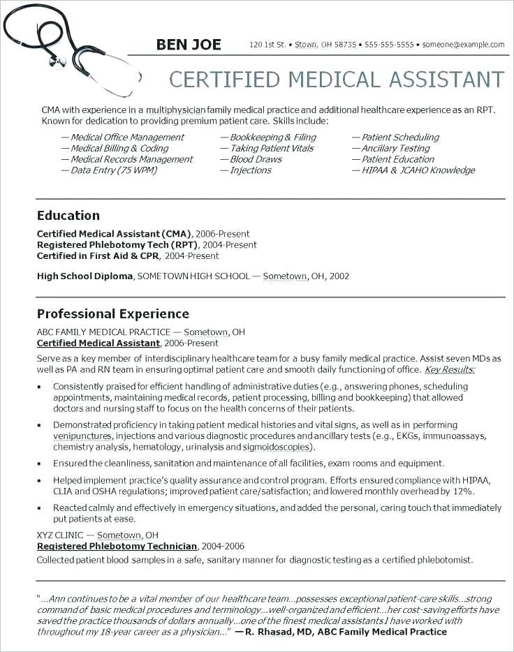 Medical assistant resume template medical assistant