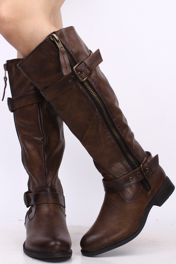 6b4cd82e71f5 BROWN FAUX LEATHER DOUBLE BUCKLE SIDE ZIP KNEE HIGH RIDING BOOTS ...