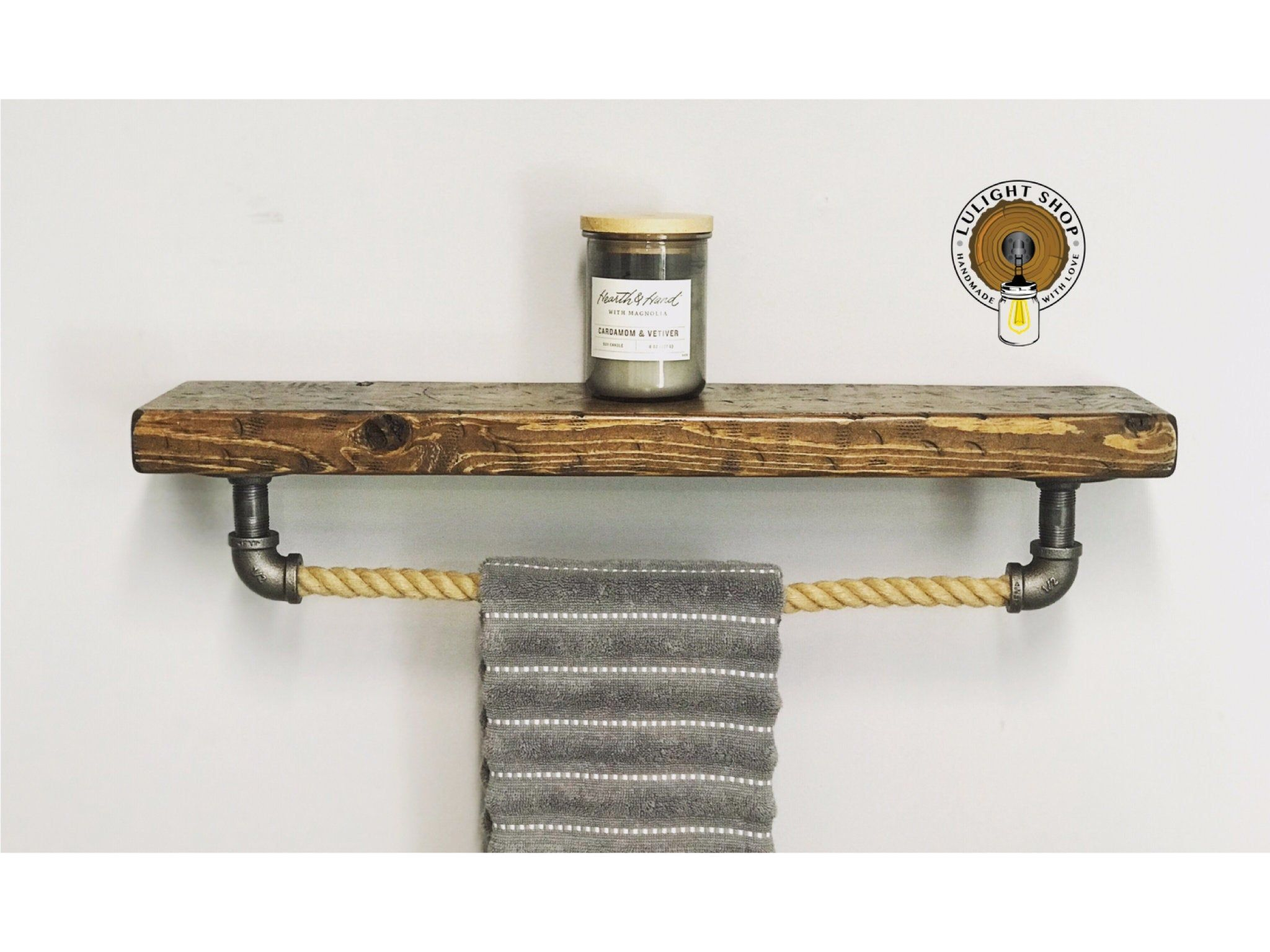 Rustic Distressed 5 5 Deep 1 5 Thick Floating Shelf With Rope