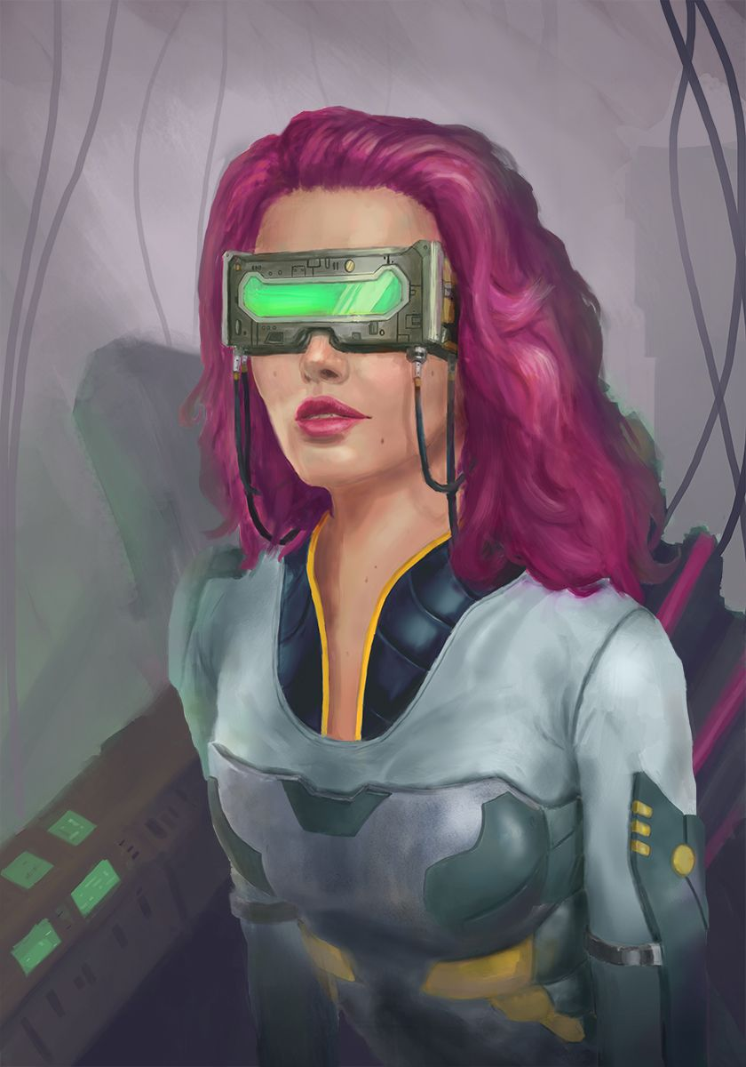 In A Cyberspace Lab Woman Illustration Pink Hair Pretty In Pink