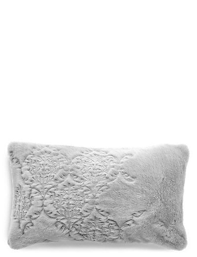 Embroidered Fur Cushion | M&S