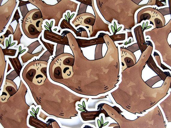 Sleeping sloth sticker vinyl stickers sloth gift by sacari