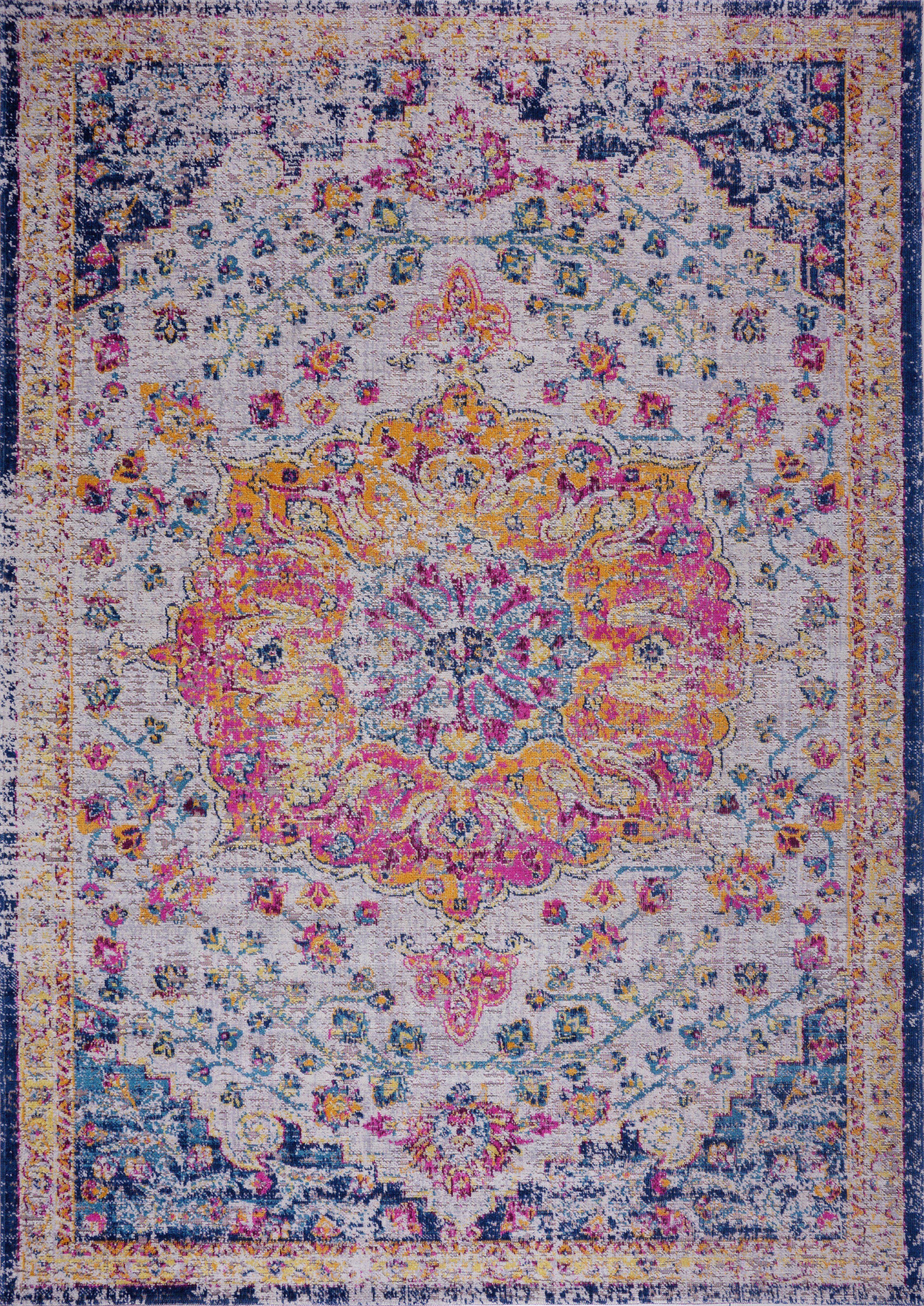 Orlando Blue Yellow Traditional Indoor Outdoor Area Rug Orange La Dole Rugs Pink Fl Persian Boho