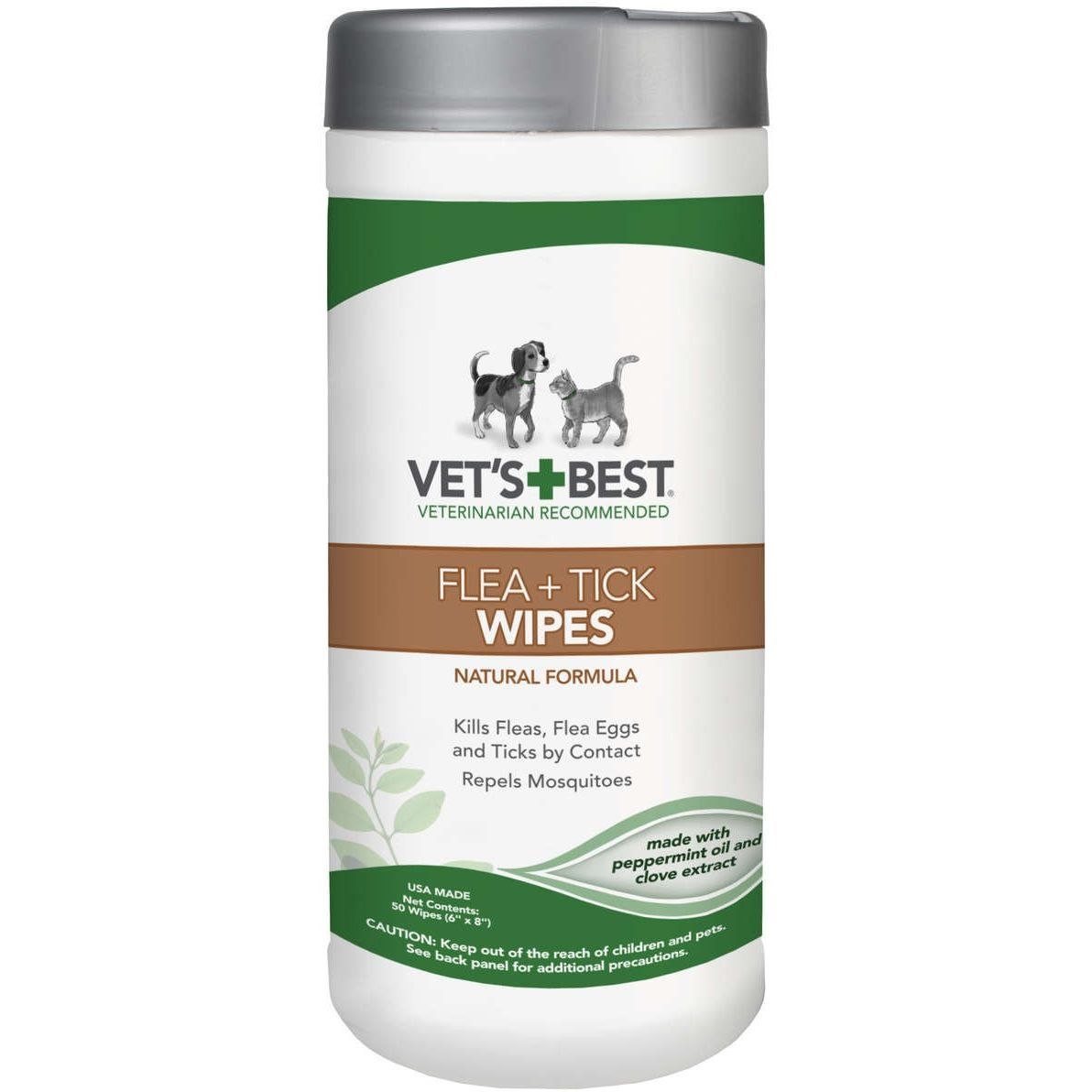 Vet S Best Flea Tick Wipes For Dogs Cats 50 Count Flea And