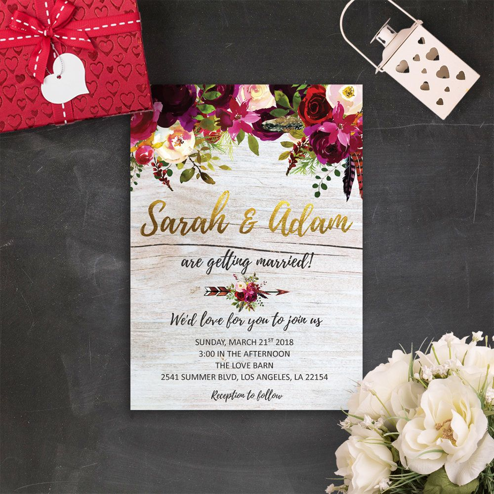Floral Bohemian Wedding Invitations Marsala Wedding Invitation ...