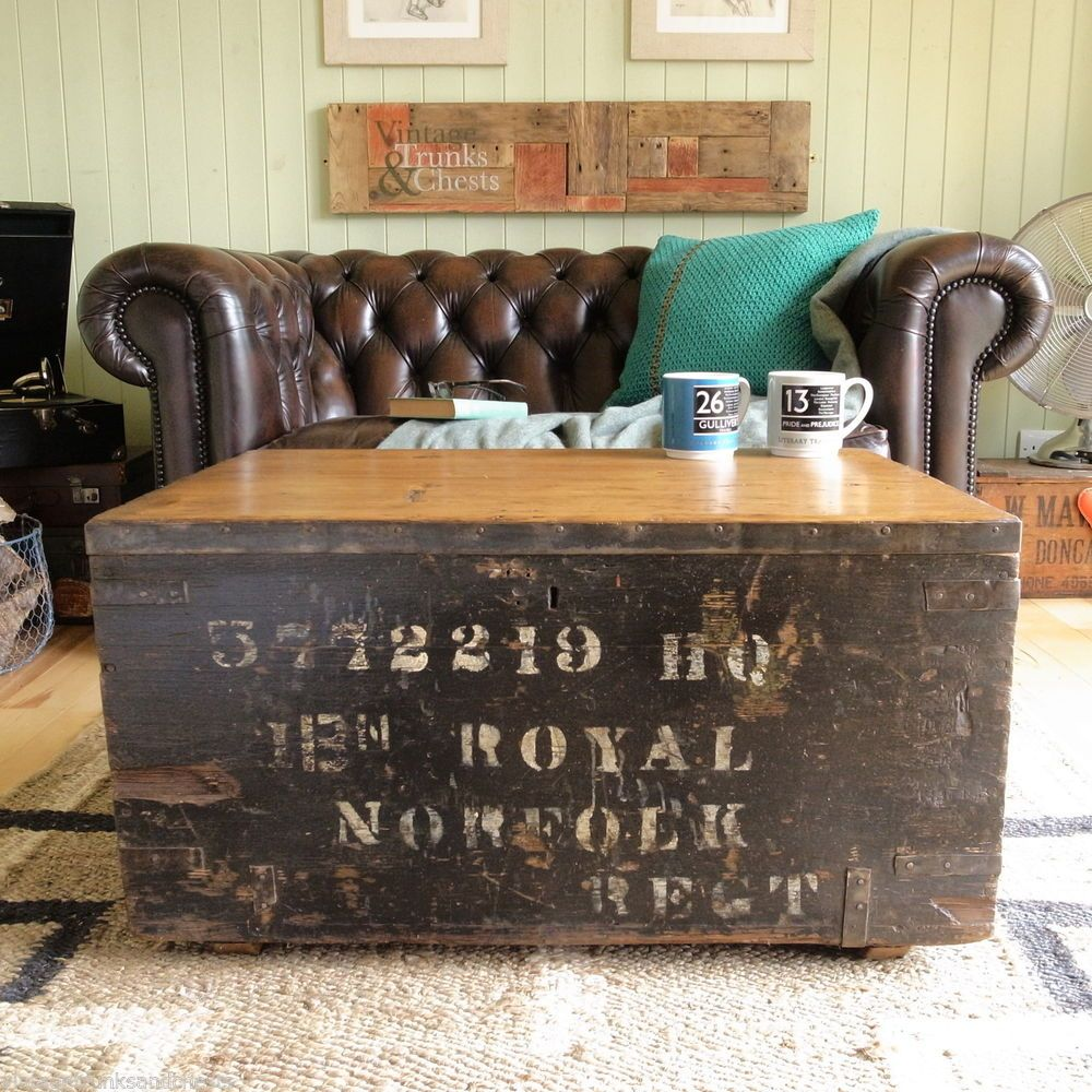 INDUSTRIAL Vintage ARMY Military CHEST Regimental TRUNK Pine COFFEE Table  TV VW