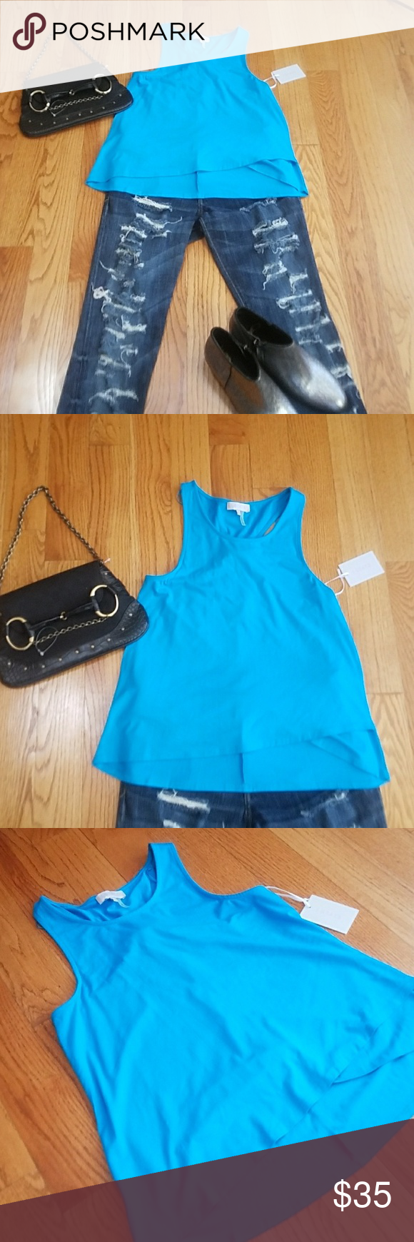 Nordstrom State Top NWT, Size small, gorgeous fabric State Top from Nordstrom, turqoise bright blue, cute detail state Tops