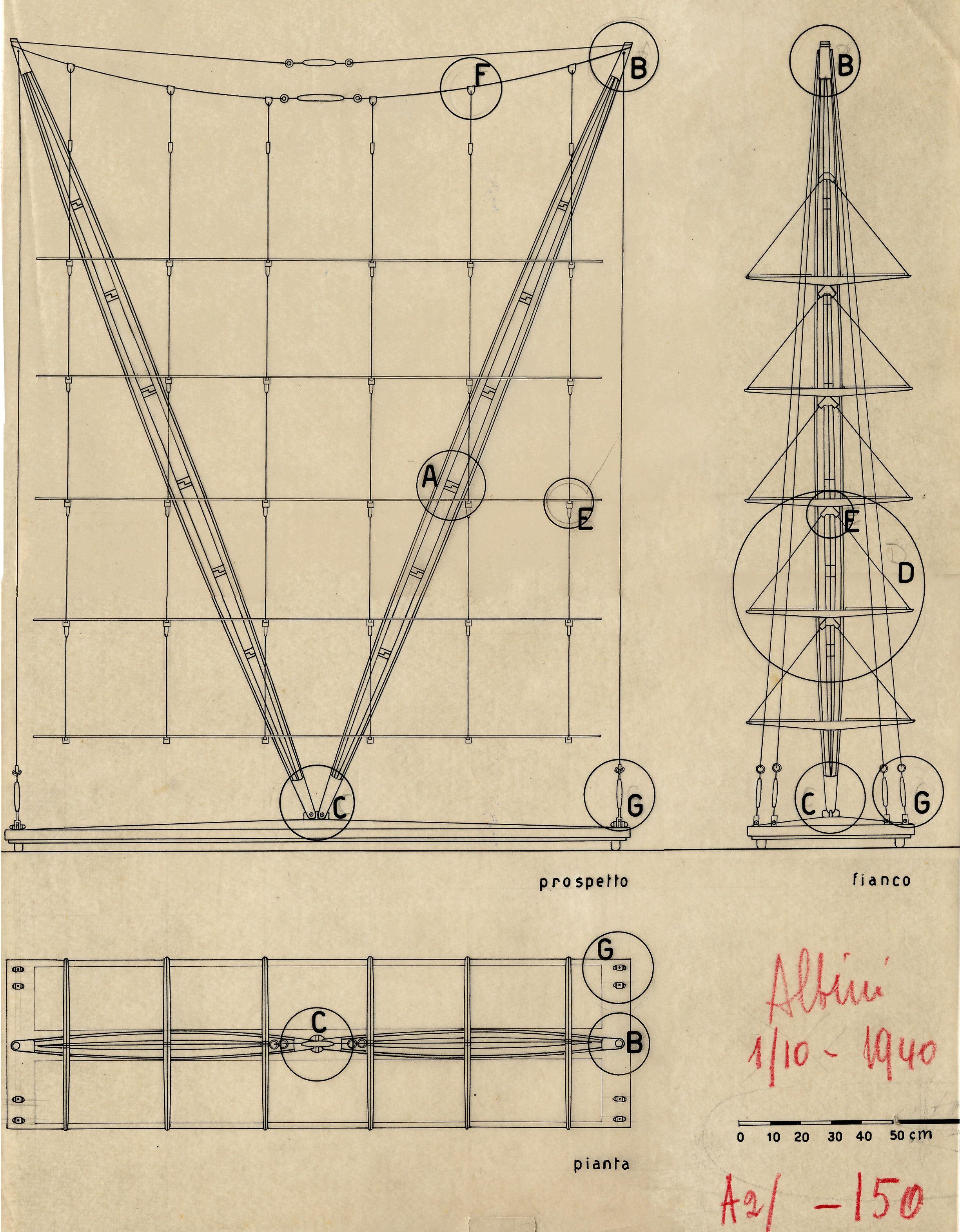 Veliero, Franco Albini, 1938, courtesy Fondazione Franco Albini / Franco Albini e Carlo Mollino / Dall'Autarchia all'Autonomia.