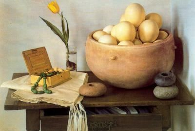 Bodegón con huevos de avestruz - Claudio Bravo - Pintor Chileno
