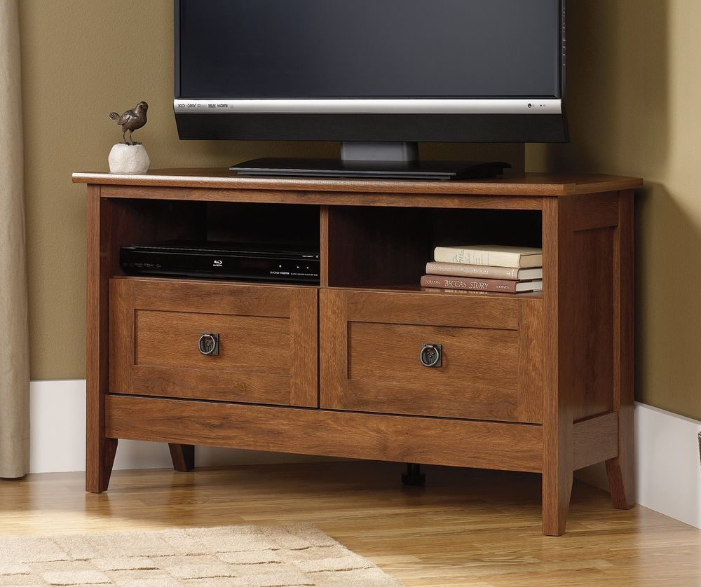Entertainment Corner Tv Stand August Hill Console Wood Storage Oiled Oak Finish