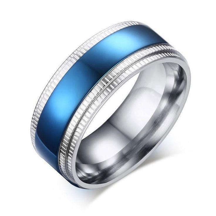Blue rings stainless steel goldcolor wedding ring for men