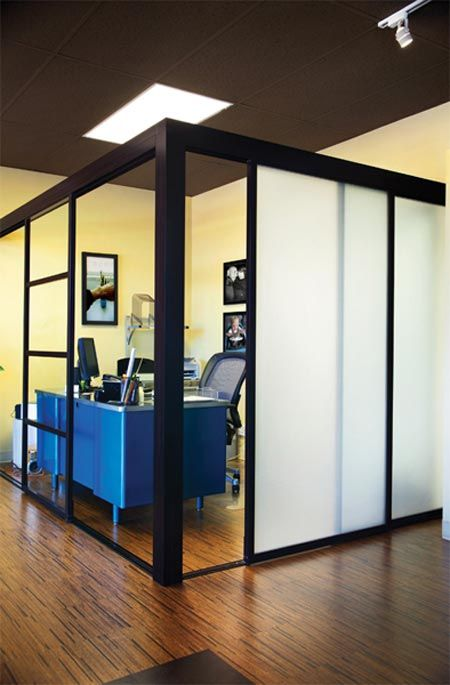 Awesome idea for future office space maybe freestanding for Sliding glass wall systems