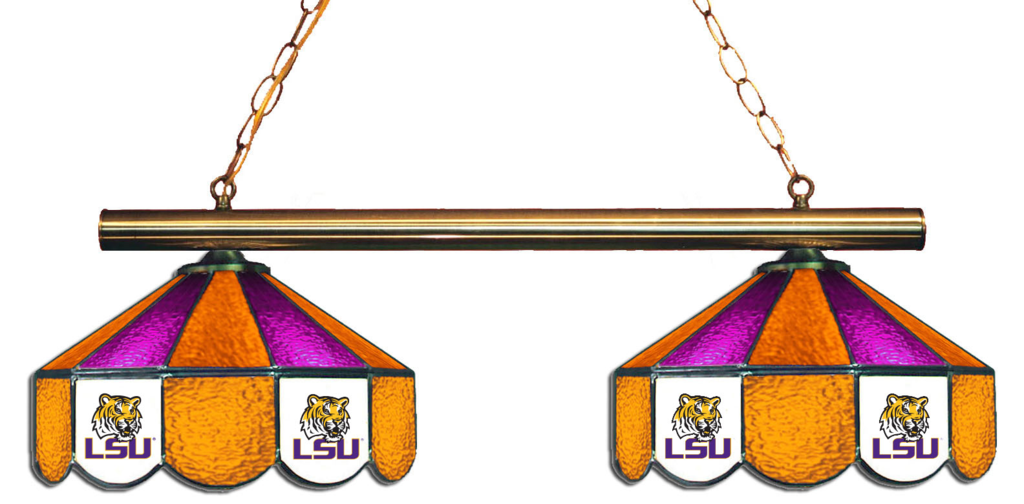 Lsu Tigers Stained Glass 2 Light Game Table Light Lighting Logo Light Table Stained Glass Light