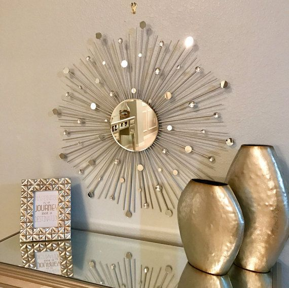 Two 30 Inch Glamorous Silver Sunburst Mirrors By Sunburstdecorart Starburst Mirror Sunburst Mirror Mirror Wall Decor