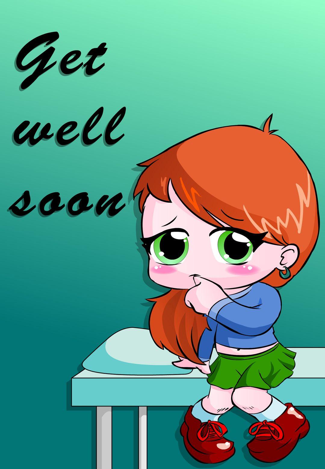 Free printable get well soon chibi greeting card get
