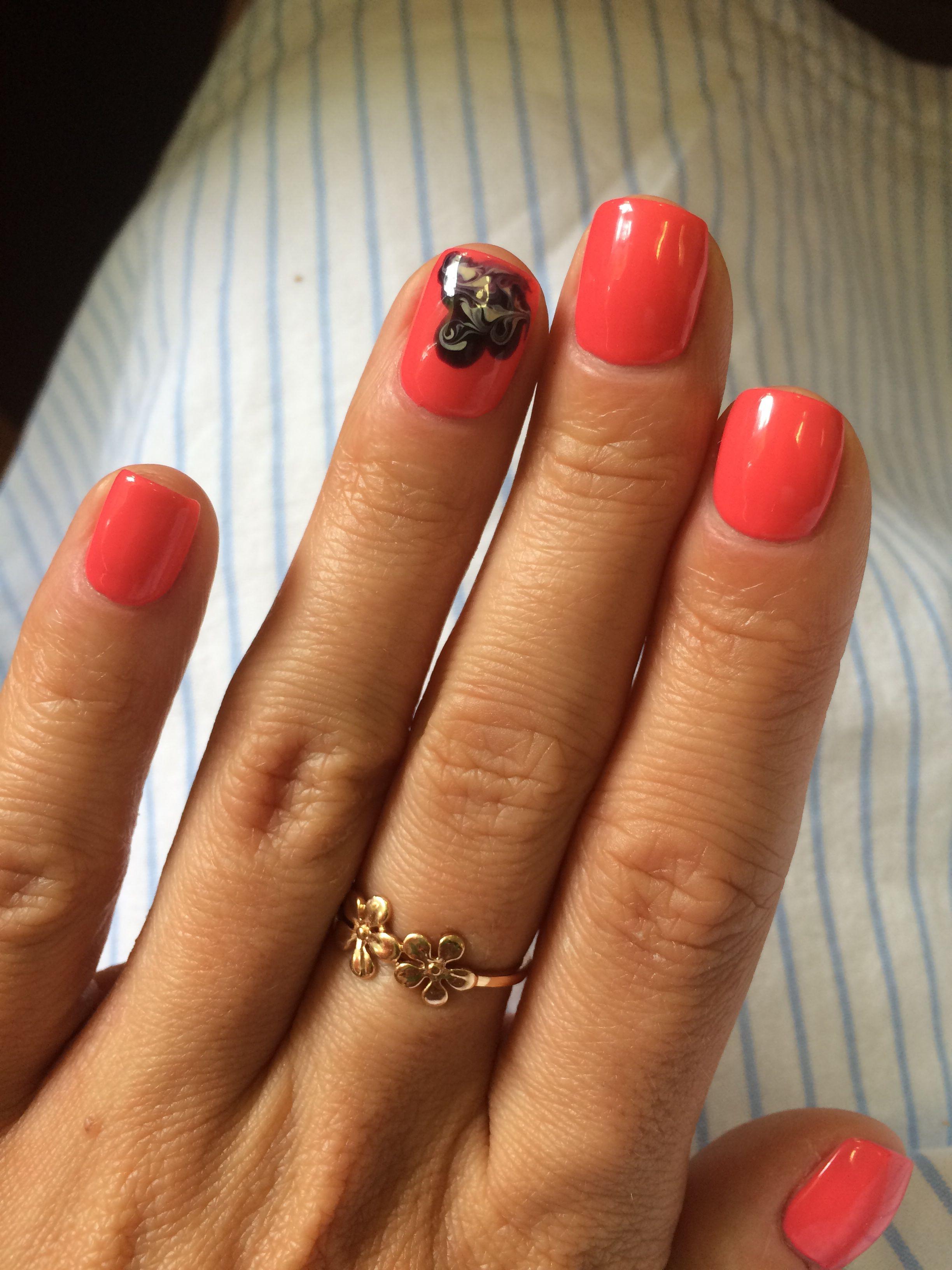 #Coral #shellac #tropix #CND #nails
