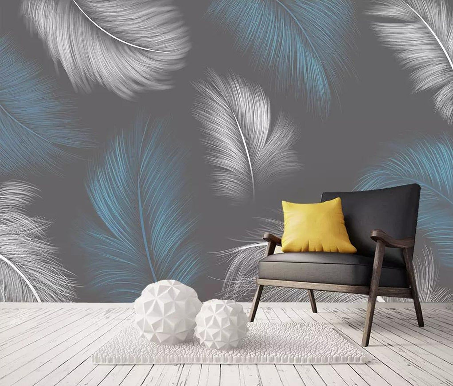 Hand Painted Blue And White Feather Wall Paperremovable Etsy Wallpaper Walls Decor Feather Wallpaper Wall Decor