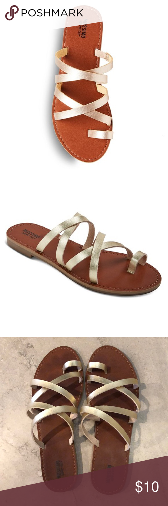 169926893010b8 Mossimo Supply Co. Lina Slide Sandals Lina slide sandal in gold. Flat  rubber sole