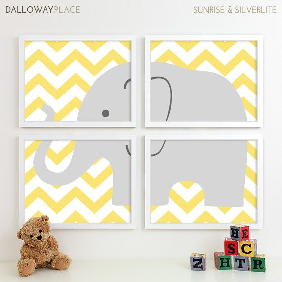Baby Elephant Nursery Decor Chevron Art Animal Print Safari Four 8x10 On Etsy 50 00