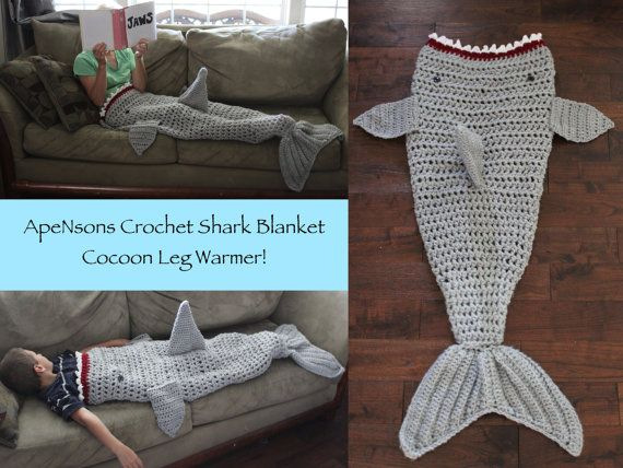 Knitting Pattern For A Shark Blanket : ApeNsons Crochet Shark Blanket! https://www.etsy.com/listing/242186873/made-t...