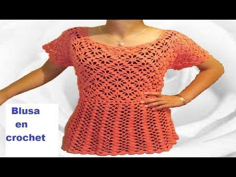 dd284bb48e Blusa tejida a crochet paso a paso   parte 1 - YouTube