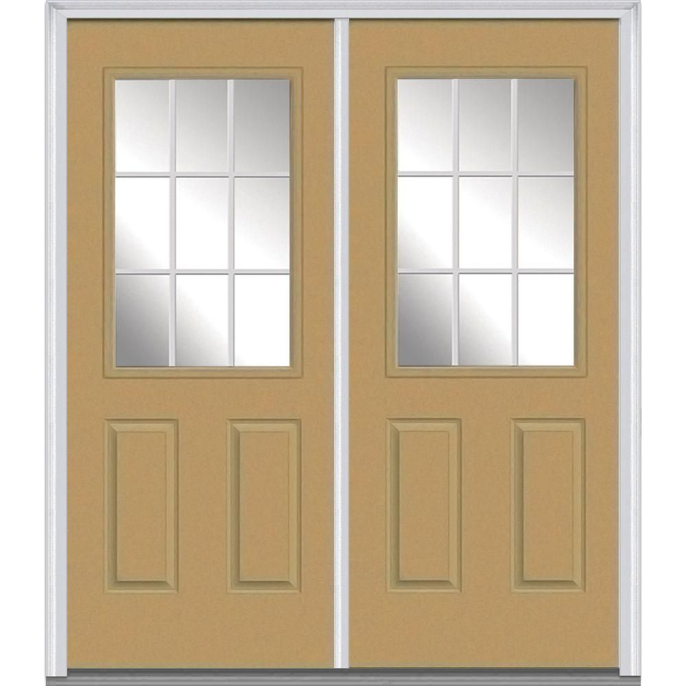 Mmi Door 60 In X 80 In White Internal Grilles Left Hand Inswing 1 2 Lite Clear Glass 2 Panel Painted Steel Prehung Front Door Z005081l Double Doors Exterior Doors Prehung Doors