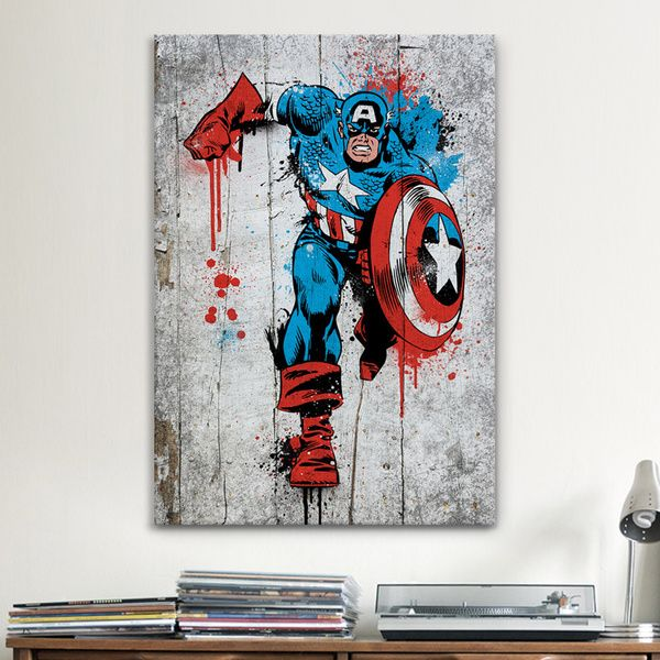Marvel Wall Art icanvas marvel comic book: captain america spray paint canvas
