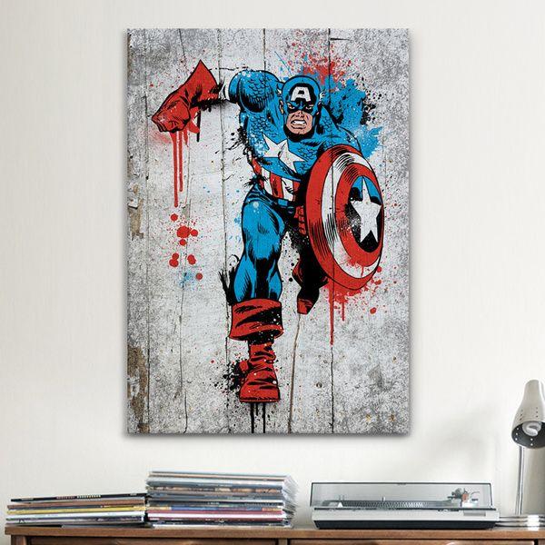 Comic Book Room Ideas: ICanvas Marvel Comic Book: Captain America Spray Paint