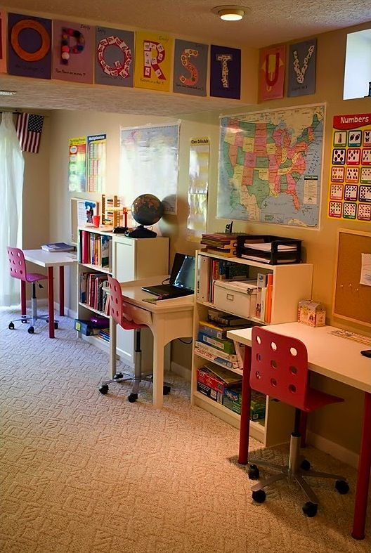homeschool room with study desks for three