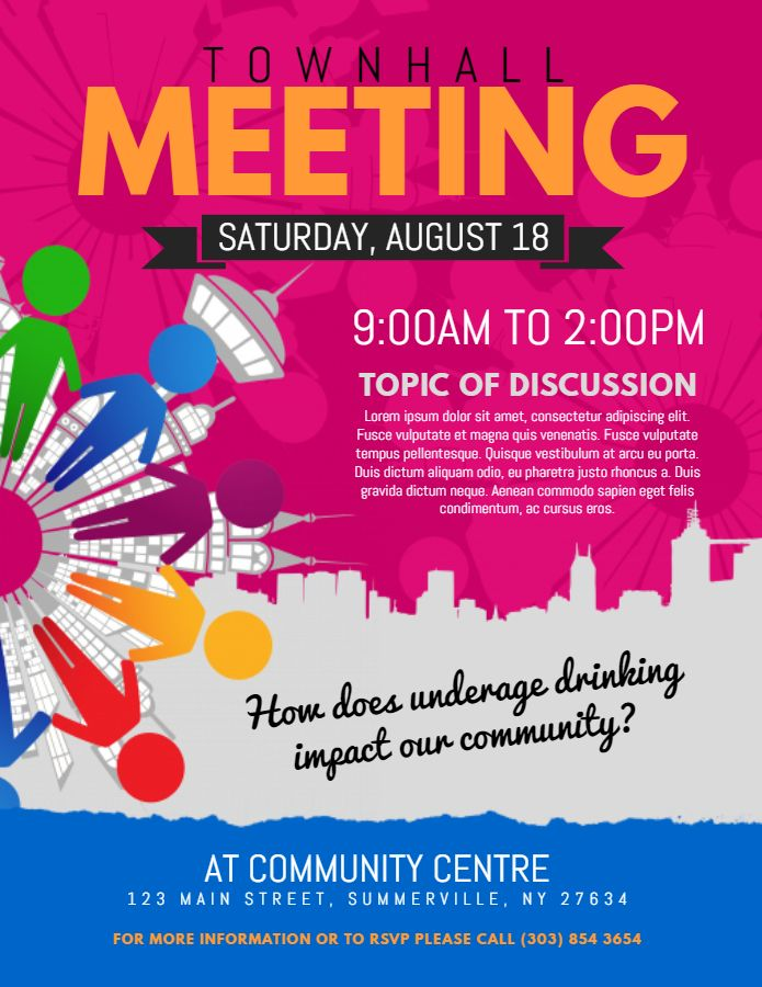townhall event meeting flyer  poster template design