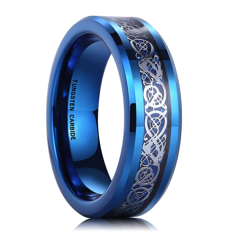 6mm tungsten carbide ring blue carbon fiber silver celtic