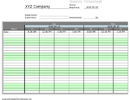 weekly multiple employee timesheet with overtime calculation 2 work