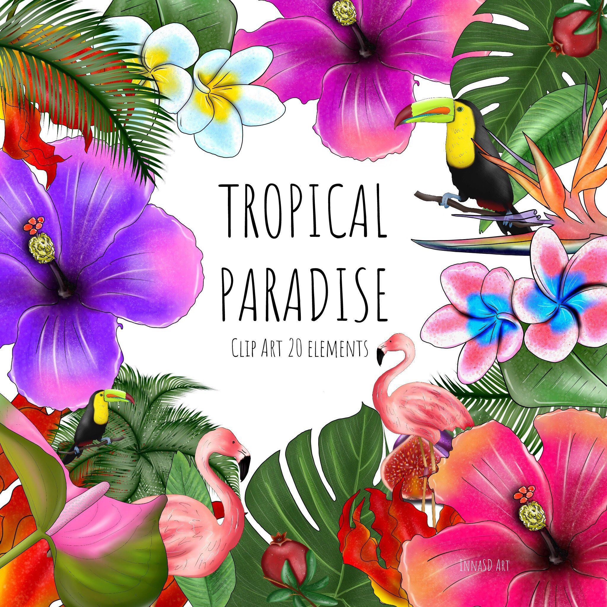 digital floral clipart tropical clipart paradise beach clipart hawaii clipart flamingo clipart tropical flowers clipart jungle clipart by innasdart on  [ 2048 x 2048 Pixel ]