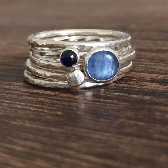 saphir ring blauer stein stapeln ring set stapeln ringe edelstein saphir setzring blauen. Black Bedroom Furniture Sets. Home Design Ideas