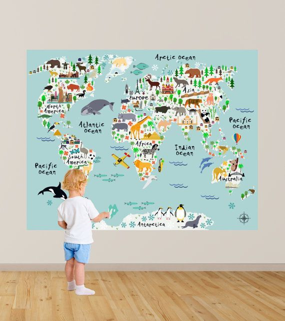 Map Wall Decal Kids Map Wall Decal Animal Map Wall Decal Map