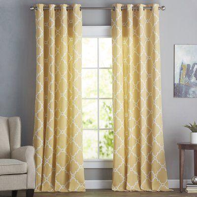 Three Posts Winnett Geometric Semi Sheer Grommet Curtain Size Per Panel 50 W X 95 L Curtain Color Yellow