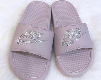 34ac45c49 Nike Benassi JDI Slides Flip Flops - Particle Rose Metallic Silver customized  with Swarovski Crystals.